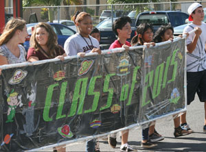 Leadership Class of 2015 show their class pride while they march in the parade alongside other clubs.