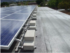 PV Panels on eastern side of Building M rooftop looking east.
