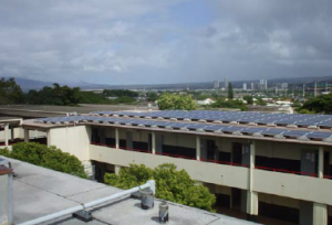 PV panels on Building B rooftop, looking north‐west.