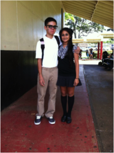 Freshman Andrew Miller dressed up as a dead school guy and sophomore Hannah Martinez dressed up as a dead school girl.