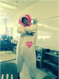 "Shawn Barrett, Junior dressed up as My Melody ""Bunnies are cool, especially My Melody!"" said Barret."