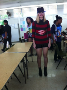 Freshman Allison Donley dressed up as Mrs. Freddy Kruger.