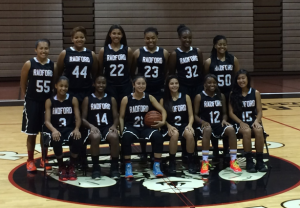 "Lady Rams Basketball team take their team picture for the season. The team went 10-6 in their season and earned a place in the state tournament. Second year varsity team member, Jazmyn Peralta, sophomore, said, ""I feel like it was a tough season but we accomplished a lot because of how far we made it. We all stayed together as a team through the hard times and that's what's going to carry on and help us in next years season."""