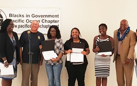 In celebration of Black History Month, Phi Beta Sigma hosted their 6th annual Poets from the Past contest. Senior Renee Banks (third from left) took first Place by reciting Maya Angelou's