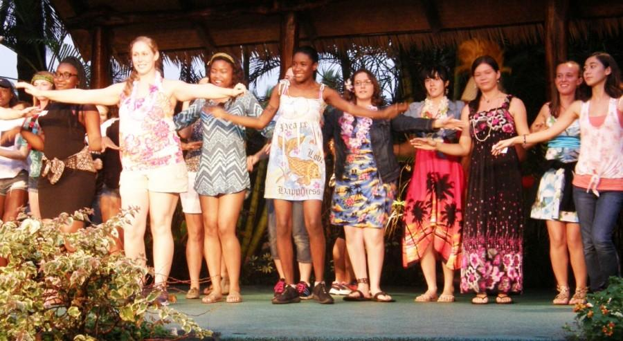 Class+of+2016+advisor+Christine+Christe+dances+with+members+of+the+senior+class+at+the+Senior+Luau+held+at+the+Polynesian+Cultural+Center.+