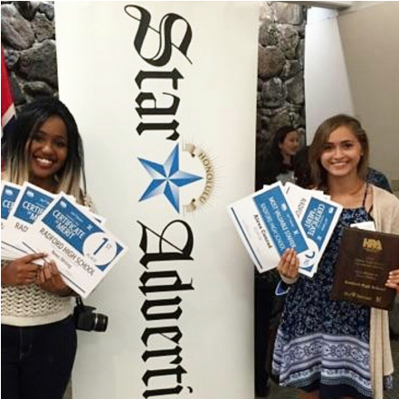 """Radford's school publication The RamPage competed in the annual Hawaii High School Journalism Awards competition. Co-editor Alexa Conrad (11) was recognized as the staff's Most Valuable Staffer. She, along with co-editor Adaliah Collins (11) represented the newspaper staff, leaving the competition with 14 awards.  """"It feels amazing to win something considering we only had six staff members to do it,"""" Collins said. (Photo by Mary Ann Kurose)"""