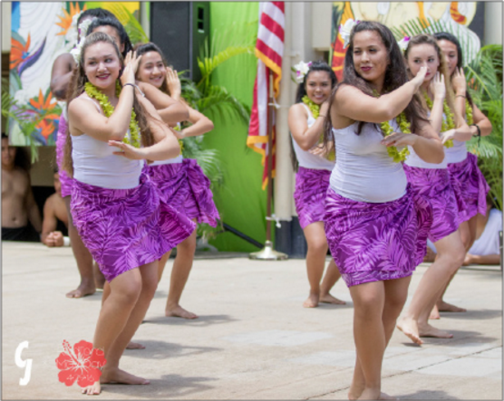 "Ladies take to the stage and dance the hula auana, or modern hula. Kayce Demello (11), who participated in the hula and Tahitian dances, said, ""I felt like a lot of people enjoyed it. Hopefully, we can put it out to a big assembly again."" (Photos by CJ Caraang)"