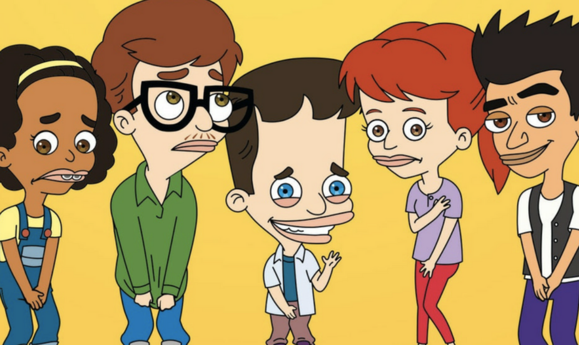 """The """"Big Mouth"""" characters stand together. The show first came to Netflix in September of 2017 and has recieved mixed reviews. The Guardian, said, """"The series' insistence that sexuality isn't something to be afraid of resonates strongly at a time when it seems as though many adults could benefit from a crash course on human sexuality, as well as treating people with dignity and respect."""""""