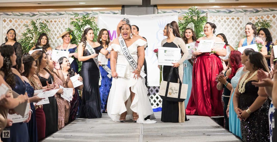 Sanoe Tuitele's shocked, yet thrilled expression after hearing that she was 2019 Miss Hawaii Plus. Photo Courtesy of Miss Hawaii Plus (website linked at bottom of page)