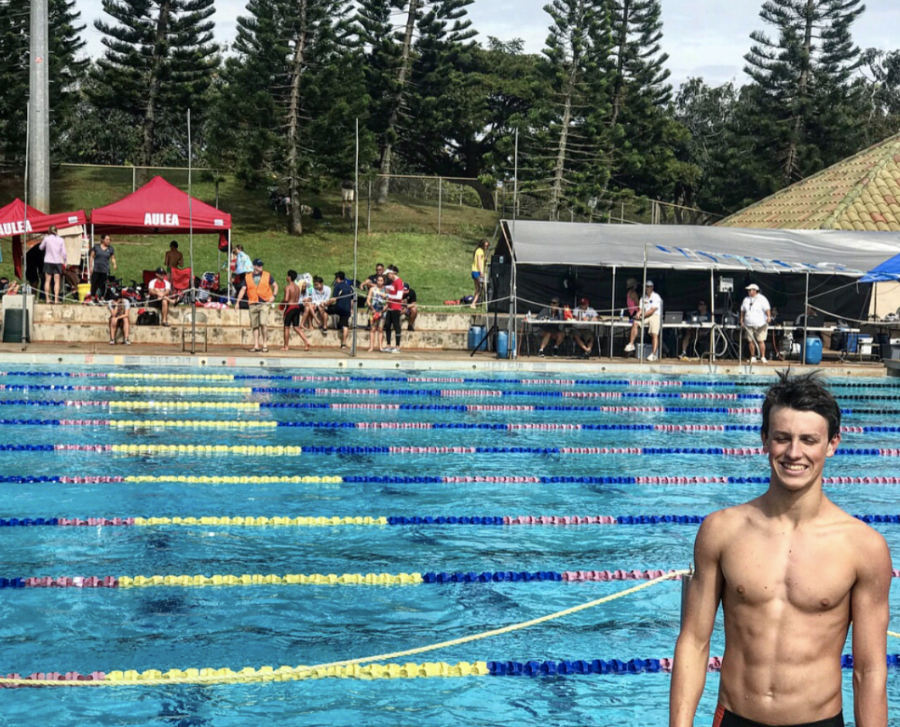 Jake+Palmieri+%2811%29+at+at+Central+Oahu+Regional+Park+for+a+swim+meet.+%E2%80%9CThe+team+will+find+great+success+in+learning+to+develop+new+bonds+as+we+adjust+to+members+leaving+and+joining%2C+and+the+introduction+of+a+new+coach.%E2%80%9D+