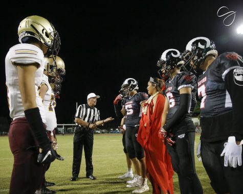 The Radford Rams played the Castle Knight's during the Homeocoming game. The teams participated in a coin toss at the start of the night. (Photo Credit: CJ  Caraang)