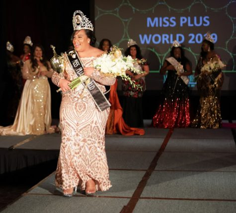 "Tuitele walking down the catwalk as she had just been crowned Miss Plus World. Tuitele brought home the title from  Miss Hawaii Plus last year. ""My future plans for pageantry are still in the works, but I want to eventually grow the plus size pageantry here in Hawai"
