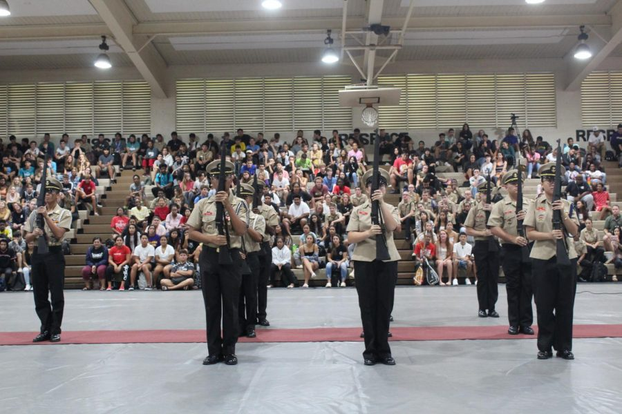 Junior Reserve Officers' Training Corps students put on a performance during assembly leaving the crowd of students in thrill and anticipation.