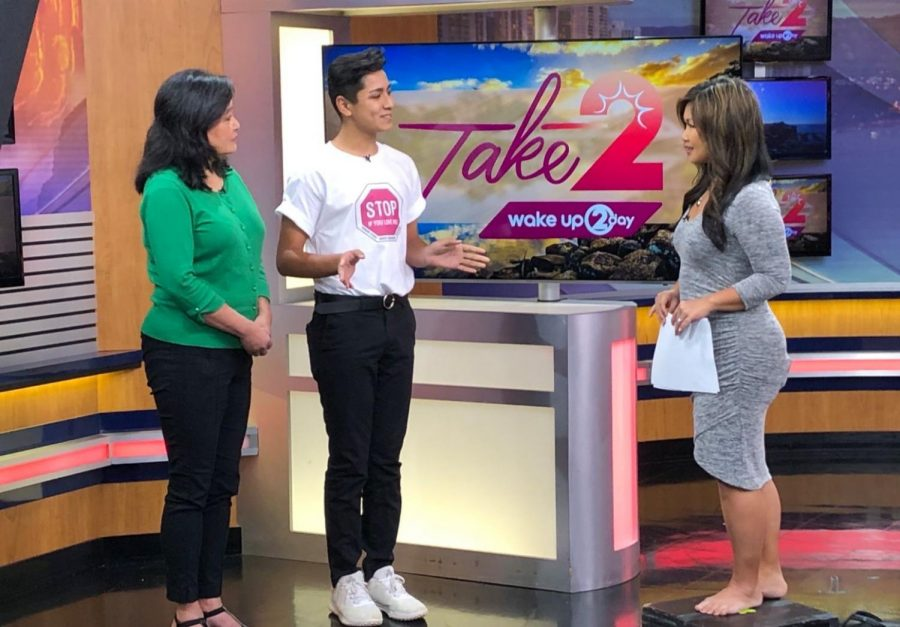 Freshman leadership student Issac Gurerro (9) had the opprotunity to speak to KHON10 New about Radford's efforts in the Stop If You Love Me Campaign