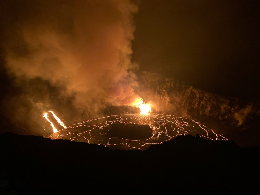 Kilauea's crater is filled with molten magma.